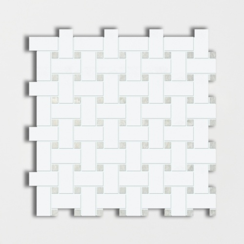 Thassos White&ming Green Polished Basket Weave Marble Mosaics 12×12