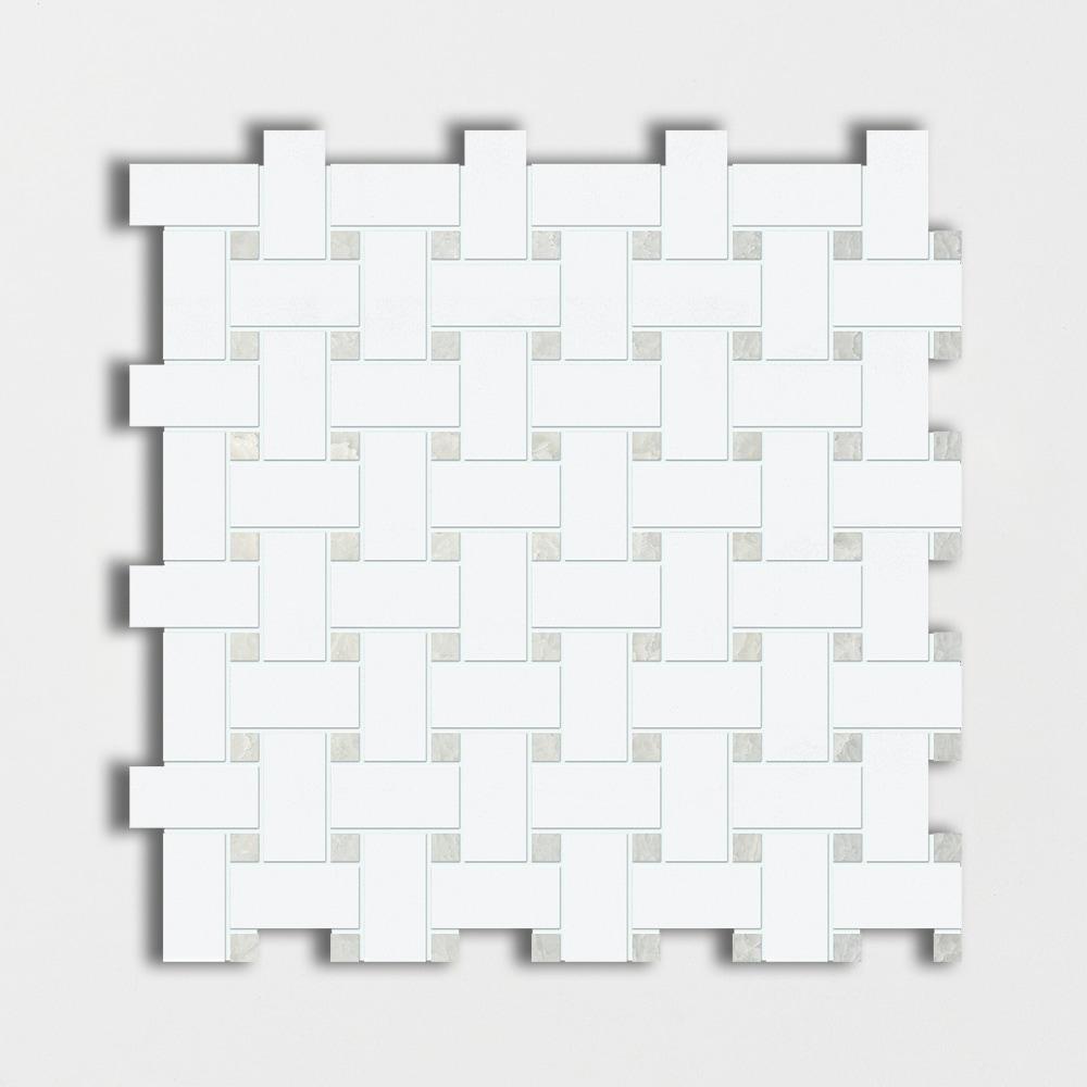 Thassos White&ming Green Polished Basket Weave Marble Mosaics 12x12