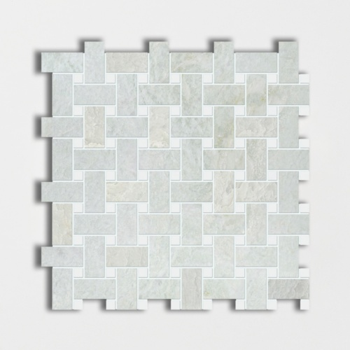Ming Green&thassos White Polished Basket Weave Marble Mosaics 12×12
