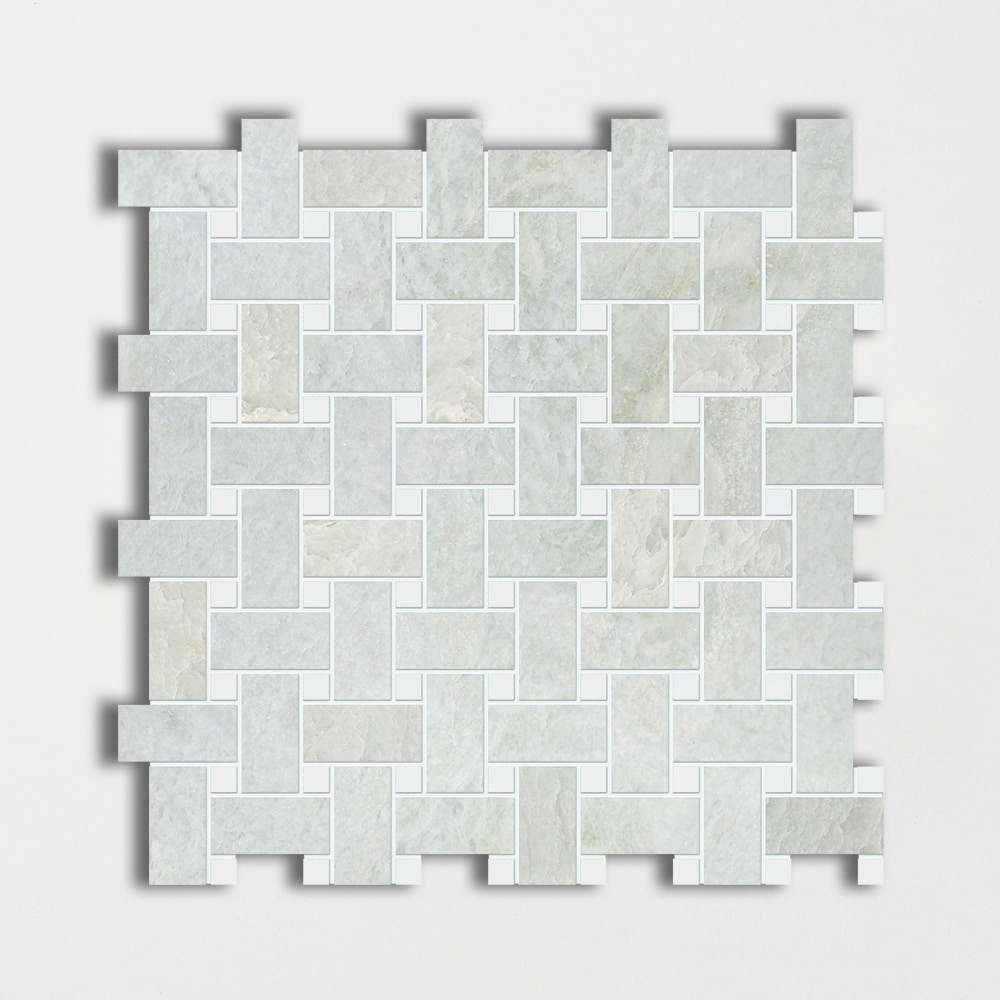 Ming Green&thassos White Polished Basket Weave Marble Mosaics 12x12