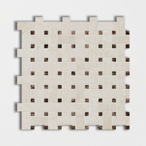 Crema Marfil&emperador Dark Polished Basket Weave Marble Mosaics 12×12