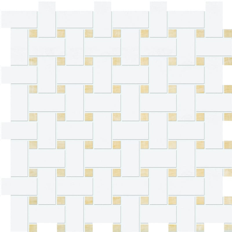 Thassos White&golden Onyx Polished Basket Weave Onyx Mosaics 12x12