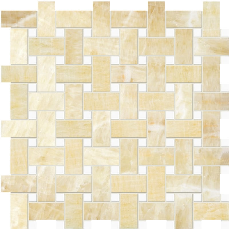 Golden Onyx&thassos White Polished Basket Weave Onyx Mosaics 12x12
