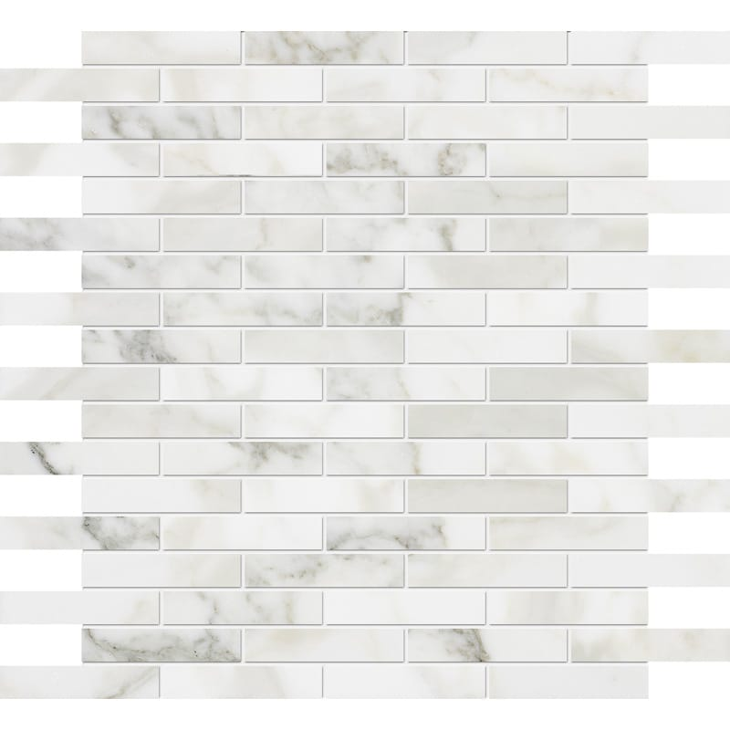 Calacatta Gold Polished 5/8x3 Marble Mosaics 12x12