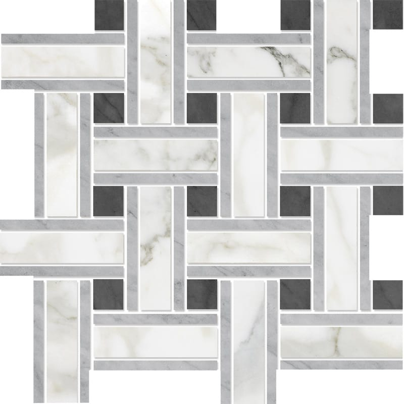 Calacatta Gold Polished 12x12 Lattice Marble Mosaics