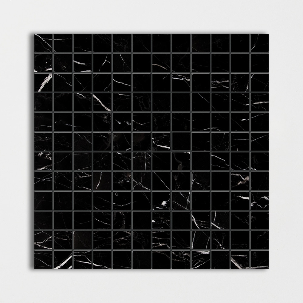 Black Polished 1x1 Marble Mosaics 12x12