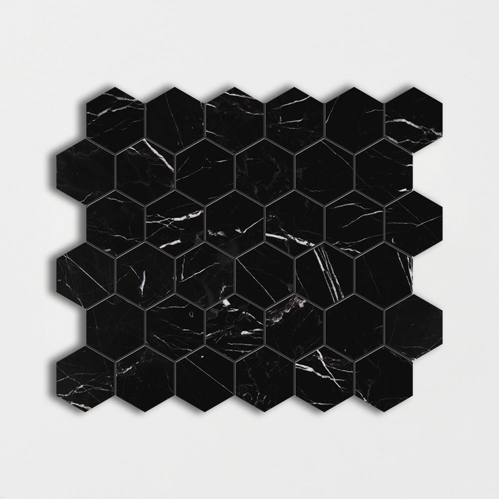 Black Honed Hexagon Marble Mosaics 12x12