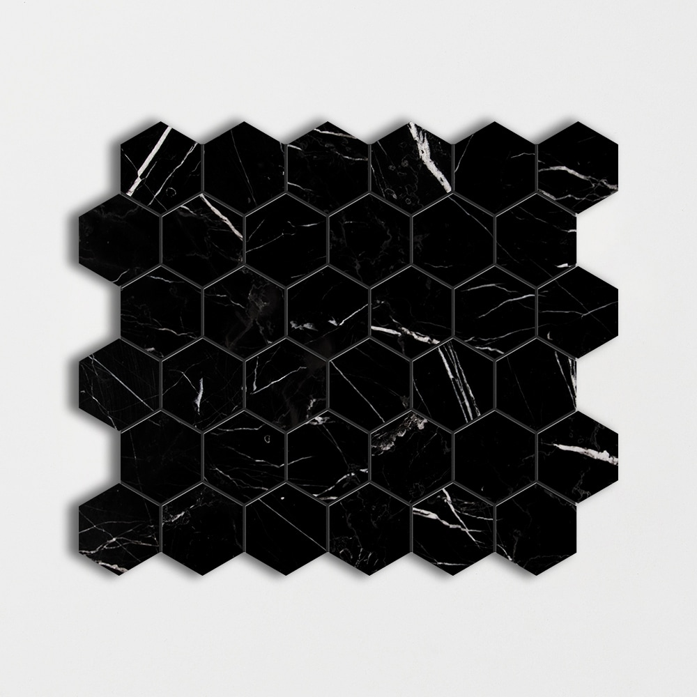 Black Polished Hexagon Marble Mosaics 12x12
