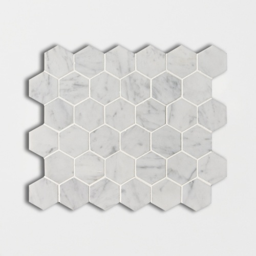 White Carrara C Honed Hexagon Marble Mosaics 12×12