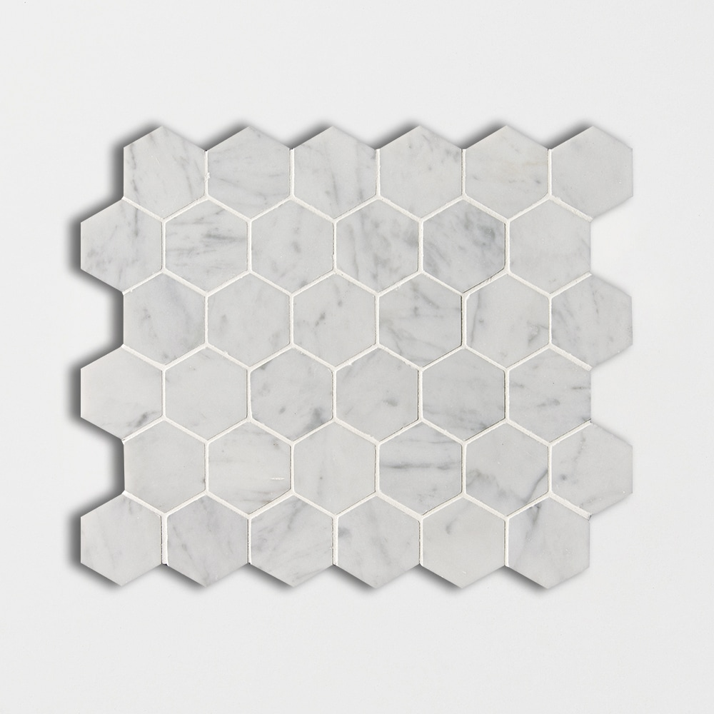 White Carrara C Honed Hexagon Marble Mosaics 10 3/8x12