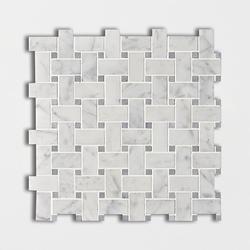 White Carrara Bardiglio Honed Basket Weave Marble Mosaics 12×12