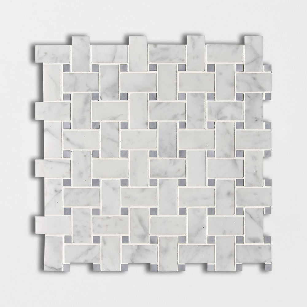 White Carrara C Honed Basket Weave Marble Mosaics 12x12