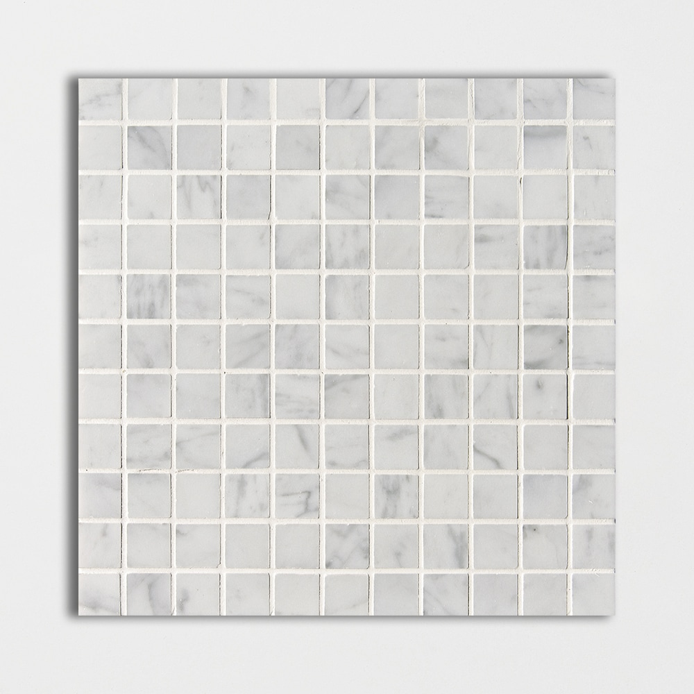 White Carrara C Polished 1x1 Marble Mosaics 12x12