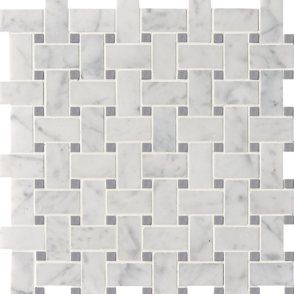 White Carrara Bardiglio Polished Basket Weave Marble Mosaics 12x12