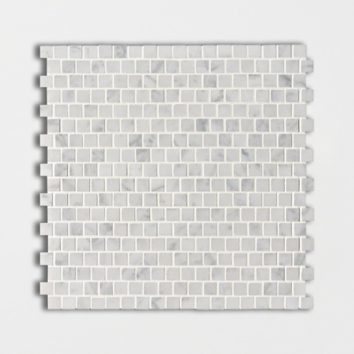 White Carrara C Polished Offset 5/8×5/8 Marble Mosaics 12×12