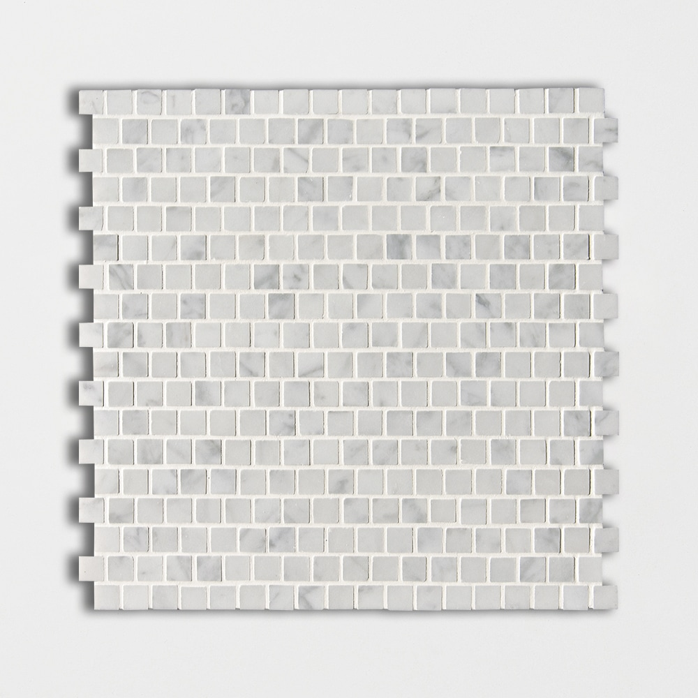 White Carrara C Polished 5/8x5/8 Marble Mosaics 12x12