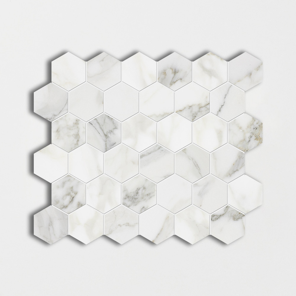 Calacatta Gold Polished Hexagon Marble Mosaics 10 3/8x12