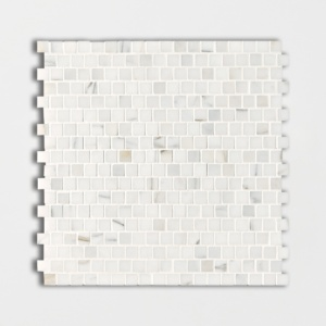 Calacatta Gold Polished Offset 5/8x5/8 Marble Mosaics 12x12