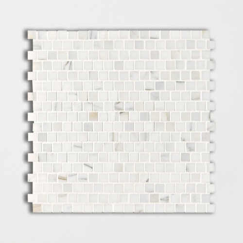 Calacatta Gold Polished Offset 5/8×5/8 Marble Mosaics 12×12
