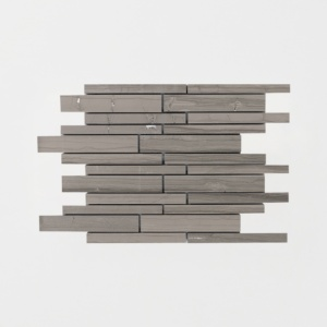Haisa Dark Honed Staggered Joint Marble Mosaics 9x12