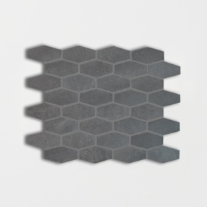 Basalto Honed Elongated Hexagon Basalt Mosaics 10x12 1/4