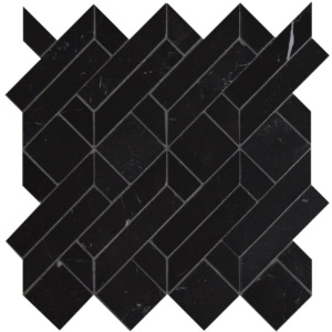 Black Honed Fontainebleau Parquet Marble Waterjet Decos 4x7 1/2