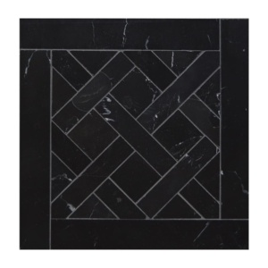 Black Honed Parquet De Chantilly Marble Waterjet Decos 8 1/2x8 1/2