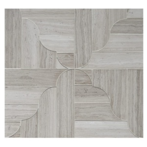 Haisa Light Honed Banter Parquet Marble Waterjet Decos 12 1/16x12 1/16