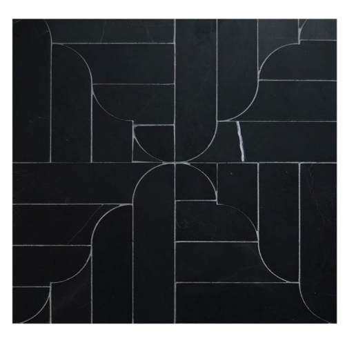 Black Honed Banter Parquet Marble Waterjet Decos 12 1/16×12 1/16