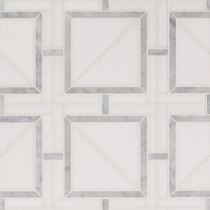 Thassos White, White Carrara Multi Finish Magra Lattice Marble Mosaics 11 11/16x11 11/16