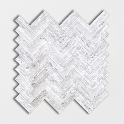 Haisa Blue Honed Herringbone Marble Mosaics 12 1/8×13 3/8