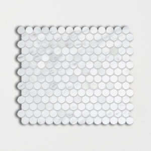 Calacatta Bella Polished Penny Round Marble Mosaics 11 1/2x11 1/2