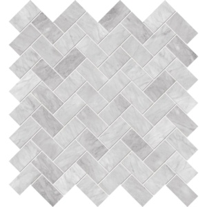 White Carrara Honed Herringbone Marble Mosaics 12 1/8x13 3/8