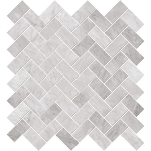 White Carrara Polished Herringbone Marble Mosaics 12 1/8x13 3/8