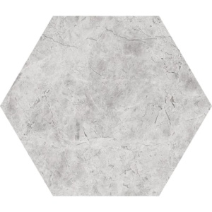 Silver Shadow Honed Hexagon Marble Waterjet Decos 5 25/32x5