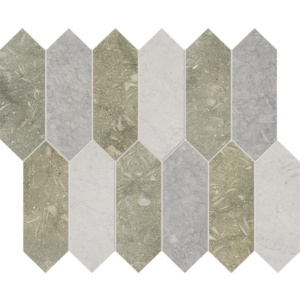 Olive Green, Britannia Dark, Britannia Honed Medium Picket Marble Waterjet Decos 13 3/16x11 1/16