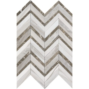 Skyline Dark Honed&polished Chevron Fusion Marble Mosaics 16x11 7/8