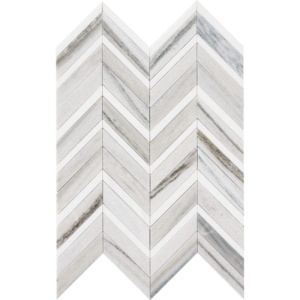 Skyline, Snow White Honed&polished Chevron Fusion Marble Mosaics 16x11 7/8