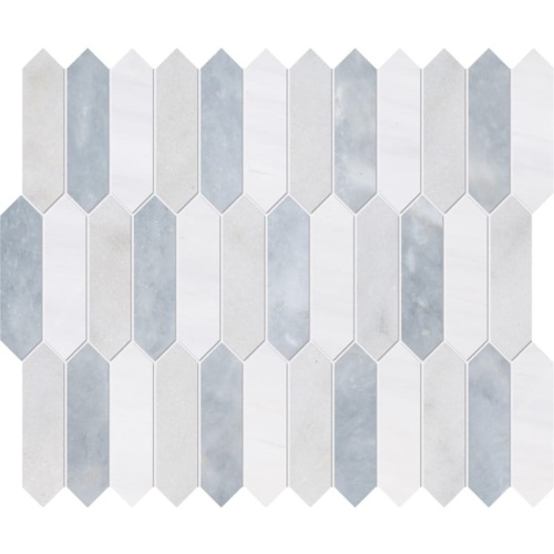 Avalon, Snow White, Allure Honed Baby Picket Marble Waterjet Decos 13 3/16×11