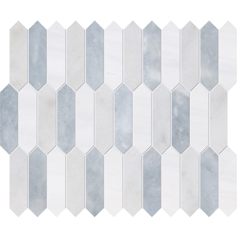 Avalon Snow White Allure Honed Baby Picket Marble