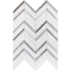 Snow White Polished Chevron Fusion Marble Mosaics 16x11 7/8