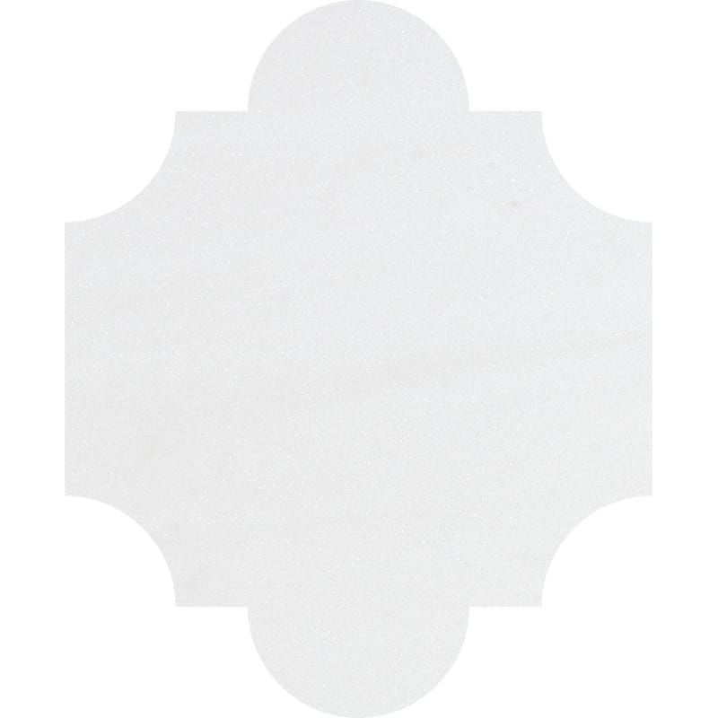 Aspen White Polished San Felipe Marble Waterjet Decos 8x9 3/4