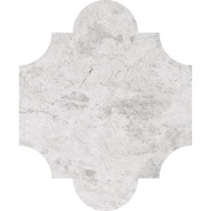 Silver Clouds Polished San Felipe Marble Waterjet Decos 8x9 3/4