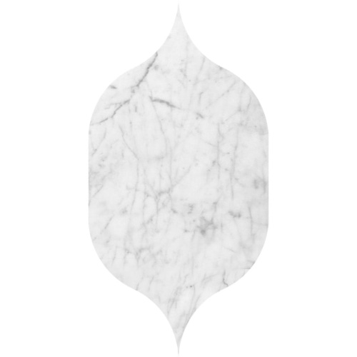 White Carrara C Honed Gothic Arabesque Marble Waterjet Decos 4 7/8×8 13/16