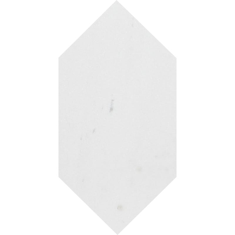 Aspen White Honed Large Picket Marble Waterjet Decos 6x12