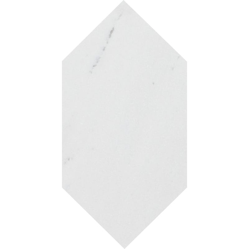 Aspen White Polished Large Picket Marble Waterjet Decos 6x12