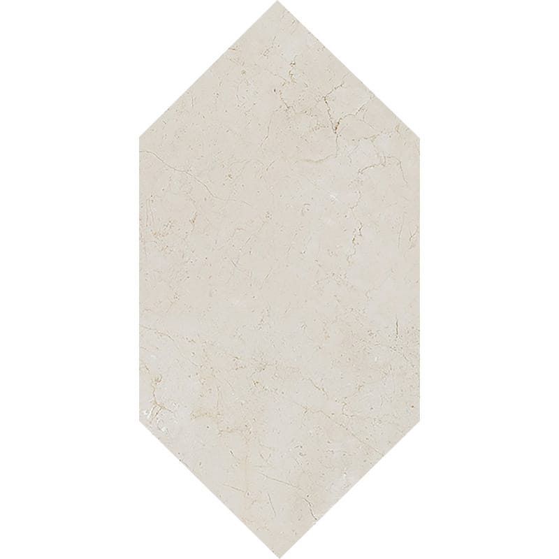 Crema Marfil Honed Large Picket Marble Waterjet Decos 6x12