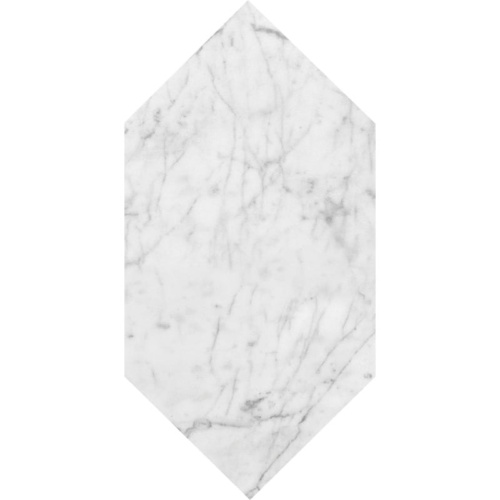 White Carrara C Polished Large Picket Marble Waterjet Decos 6×12