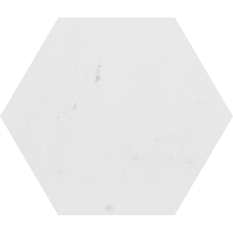 Aspen White Honed Hexagon Marble Waterjet Decos 5 25/32x5