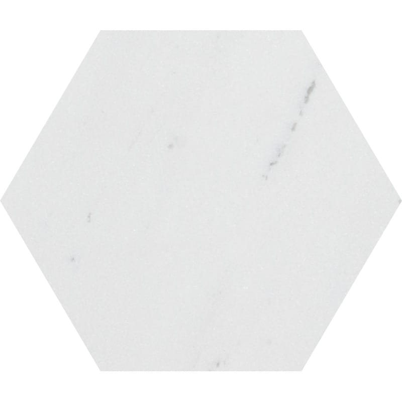 Aspen White Polished Hexagon Marble Waterjet Decos 5 25/32x5